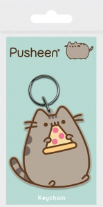 Pusheen with pizza Rubber Keychain